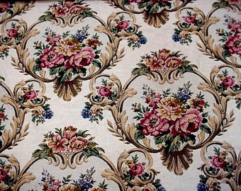 "Floral Tapestry Fabric, Vintage Rose Pattern Heavy Woven Upholstery Cotton Carpet Bag Material, almost 2 yards, 56"" wide itsyourcountry"