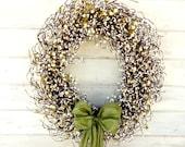 LARGE Wedding Wreath-Winter Wedding Decor-SAGE & CREAM Door Wreath-Fall Wreath-Winter Door Wreath-Front Door Decor-Choose Scent and Ribbon
