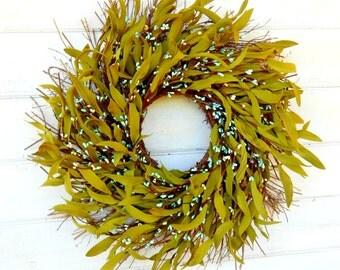 Winter Wreath-Spring Wreath-Rustic Twig Wreath-TEAL BAY LEAF Wreath-Scented Wreath-Country Chic Home Decor-Bay Leaf Wreaths-Rustic Wreath