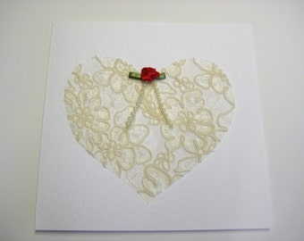 Cream Lace Heart Valentine or Anniversary Card - Blank, Engagement,or Wedding