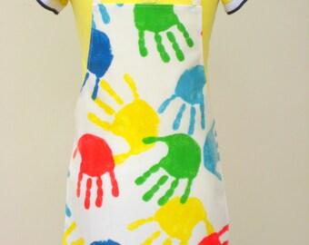 Kid's Pvc Apron - Bright Handprints, Toddler Apron, Oilcloth Apron, Waterproof Apron