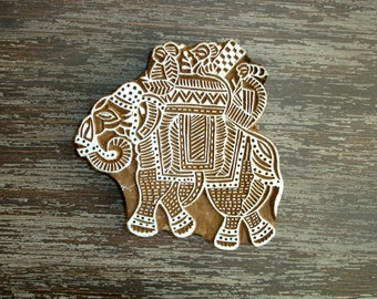 Large Elephant Stamp, Hand Carved Wood Stamp, Indian Textile Stamp, Handmade Wooden Printing Block, Ceramic Pottery Clay Stamp, India Decor