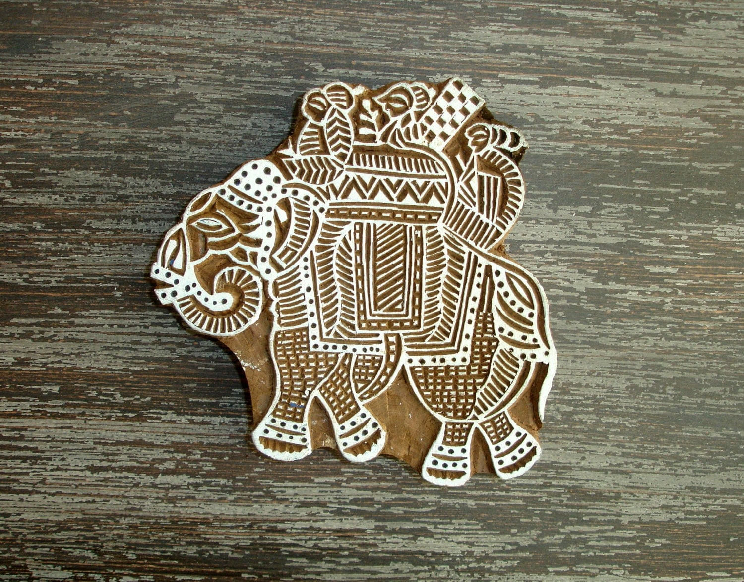 Large elephant stamp hand carved wood indian textile