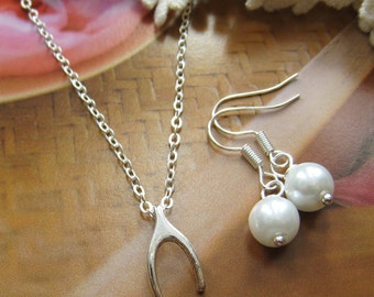 Wishbone necklace and earring set, bridesmaids necklace, wedding jewelry - W037