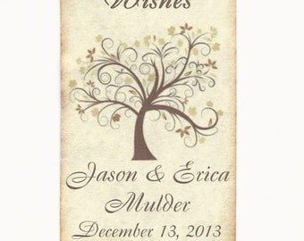 50 CUSTOM X-Large Personalized Wedding Wish Tags - Wedding Favors-Elegant Wedding Tags