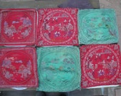 DO not purchase unless you are VIV/Australia..Lot of 6  Vintage Chinese Silk Embroidery Chinoiserie Red,Gold, Silver, Green Cushion Covers