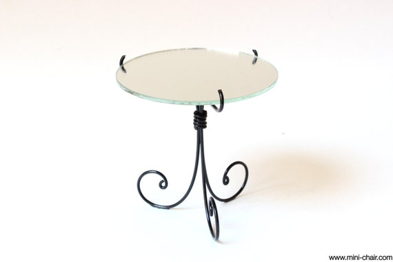 1/6 scale Side Table / Nightstand / Mirror Wrought Iron Miniature French Bedroom furniture for dolls (Blythe, Barbie, Pullip, BJD, Momoko)