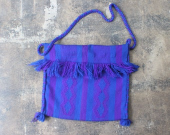 Persian Blue Bag / Vintage ETHNIC Bag /  Large Woven PURSE / Slouchy Handbag