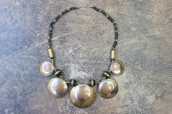 1970's Metal Necklace / Vintage Bohemian Copper and Brass Jewelry / Oversize Tribal Neckpiece