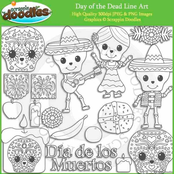 Line Art Etsy : Day of the dead line art by scrappindoodles on etsy