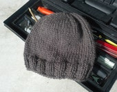 Alpaca Men's Hat - Hand Knit Brown Slouchy Wool Winter Hat for all your Dudes Outdoor Activities (One Size - Ready to Ship)