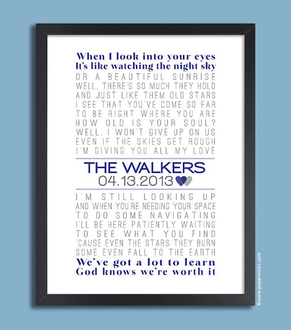 First Dance Lyrics Poster, Wedding Song, Personalized Wedding Print ...