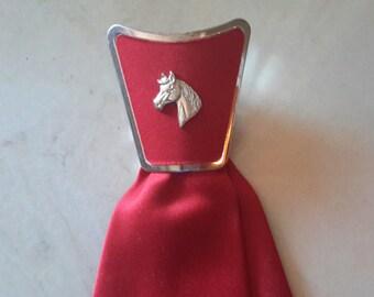 VINTAGE MONSIEUR CRAVATIEUR Childrens Fashion Tie Cowboy Horse Showing Rodeo Square Dancing Red