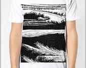 Block Print Style Unisex T Shirt - Waves - Screen Print American Apparel Tee XS, S, M, L, XL