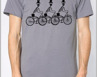 Three Skeletons on Bikes Men's T Shirt American Apparel XS, S, M, L, XL 8 COLORS