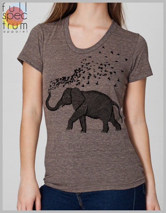 Womens elephant birds parade t shirt american apparel hand for Full hand t shirts for womens