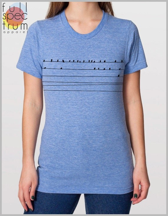 Unisex T Shirt Birds on a Wire American Apparel XS, S, M, L, XL street fashion