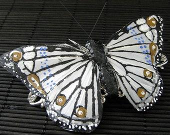 White Butterfly Barrette. Large Barrette. Handmade Butterfly Hair Clip. Feather Butterfly Barrette. Handmade Hair Clip.