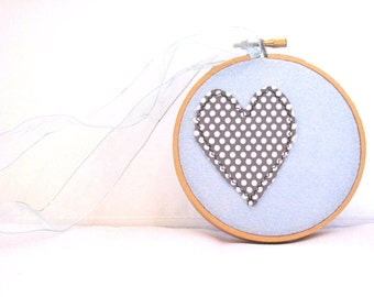 Grey and Baby Blue Heart Hoop,Embroidery Hoop Art,Spring, Grey Heart Wall Hanging, Neutral Home Decor, Folk Art