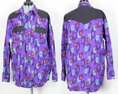 CLEARANCE Vintage Retro Purple Aztec Tribal Long sleeve Collared Shirt Large