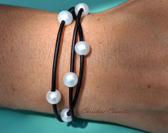 Christine Chandler - Leather Jewelry - Pearl and Leather Bracelet - 3 Strand - Pearl and Leather Jewelry - Leather Bracelet - Pearl Bracelet
