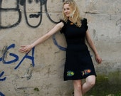 Funny Cocktail Dress, Black, Fish Appliqué, Size S, Worldwide Shipping