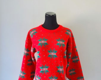 Vintage Green Snowflake Patterned Knit Sweater 1980s
