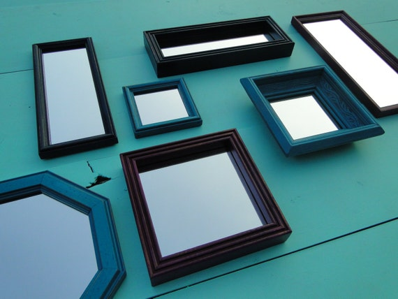 Framed mirror set collection gallery wall vintage wooden beach for Teal framed mirror