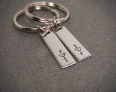 Custom Initials Bar Keychains, Couples Keychains, Boyfriend Girlfriend Gift, Gift For Him Her, Gifts under 30, minimalist gift, minimalist
