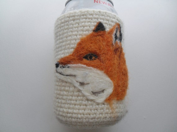 Felted Fox can cozy koozie