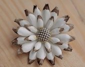 Gold and White Vintage Floral Tin Brooch