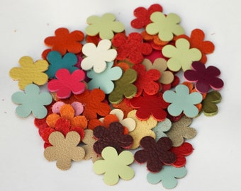 Leather flower die cuts blossoms wholesale variety of colors DIY Pet, Cat, Dog Collar Applique genuine leather
