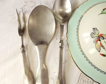Serving spoons and fork, silver plated, set of three, from France