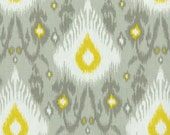 Two 20 x 20 Custom   Designer Decorative Pillow Covers - Ikat Grey and Yellow
