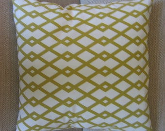 Two 20 x 20  Designer Decorative Pillow Covers - Robert Allen Fret Design - Citrine