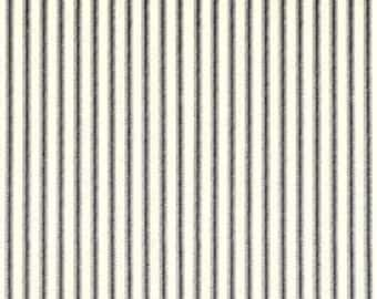 One 54 x 98  Tablecloth -   Ticking Stripes - Black/Ivory