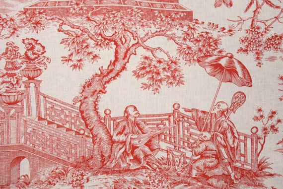 Two  26 x 26 Custom Designer Decorative Pillow Covers - Kaufmann - Toile - Poppy Red