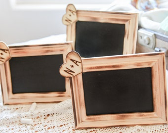 Custom Rustic Distressed Stand alone Wedding chalkboard wood heart engraved with bride and groom initials table numbers