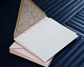"Mother's Day - ""Love, Mom"" Flat Card Set with Cherry Blossom Washi Lined Pink Envelopes - Set of 10"