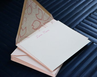 "Mother's Day - ""Love, Mom"" Flat Card with Cherry Blossom Washi Lined Pink Envelope - Single Card"