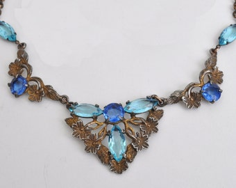 Vintage Victorian Style Necklace with Rhinestones in blues.