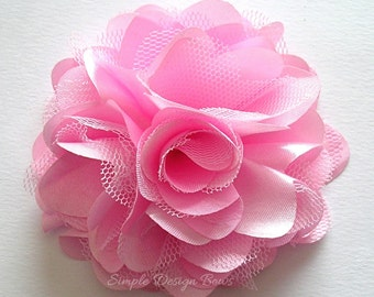 "Pink Hair Flower - Pink Flower Clip - Hair Clip or Brooch - 3"" OLIVIA FLOWER - Satin Hair Flower - Hair Flowers"