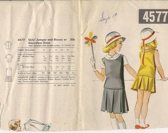 1950's Sewing Pattern McCall's 4577 girls drop waist dress size 10