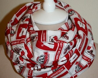 """Infinity Scarf Wisconsin Badgers College Circle Loop Scarf 9"""" x 70"""" L - Cotton Team Spirit_Red and White-Bucky"""
