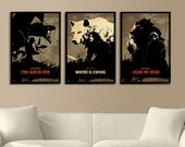 Games of Thrones Trilogy Poster Set of 3 - House Stark, House Lannister, House Targaryen