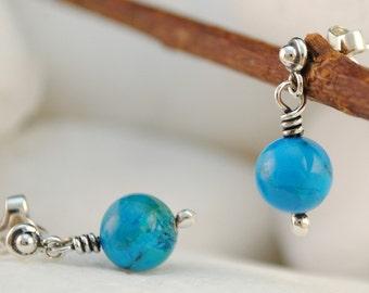 Sky Blue Turquoise Sterling Silver Dangle Earrings