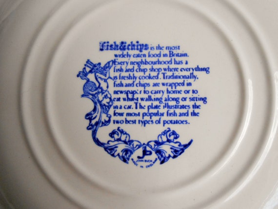 British Fish And Chips Plate Royal Blue John Buck Made In