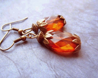 Amber and  Bronze Earrings - Faceted Brown Beads - Vintage Acrylic Beads