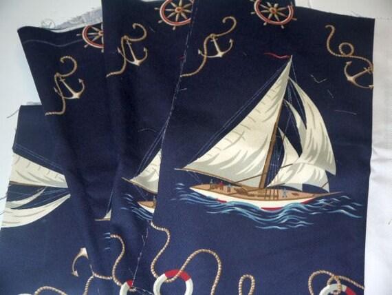 Ralph Lauren Nautical Sailboat Fabric Coastal Beach Decor