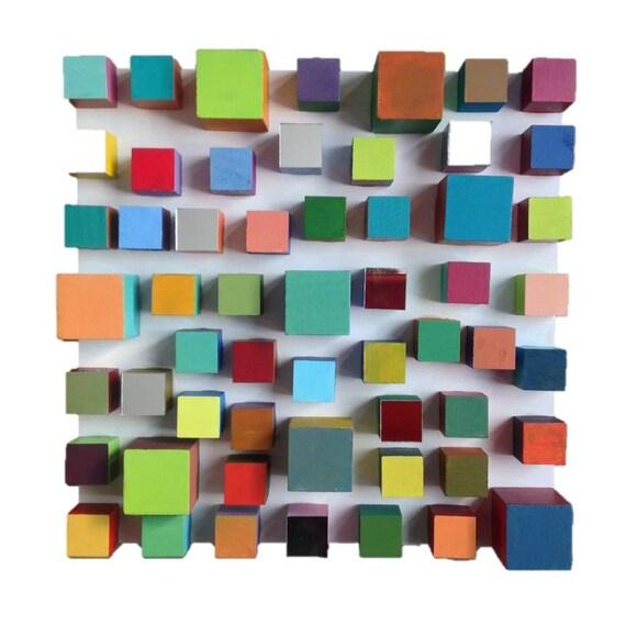 Modern wood cube painted mirror wall geometric art sculpture - Cube wall decor ...